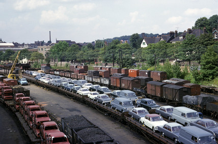 'Carflat and Carbody trains in yard', Crescent Wharf, Luton, 1965.