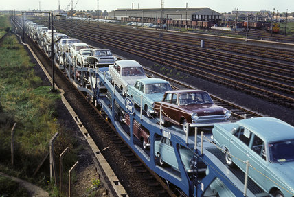 'Ford's Cartic train en route', Dagenham, Greater London, 1965.