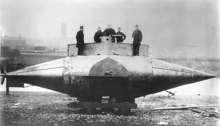 'Resurgam', the first mechanically propelled submarine, 1879.