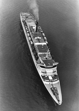 'Queen Elizabeth 2' (QE2) at sea, 23 August 1979.