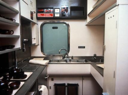 Kitchen on a Pullman service, c 1980s.