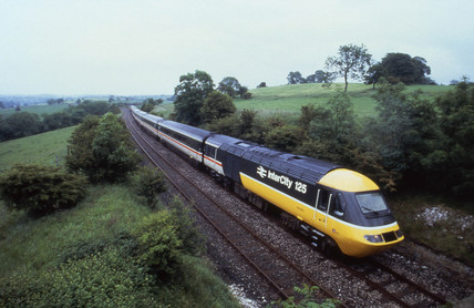 BR Intercity 125 passing through countryside, 1985.