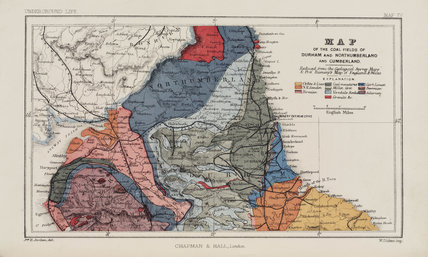 Map of the coal fields of northern England, 1869.