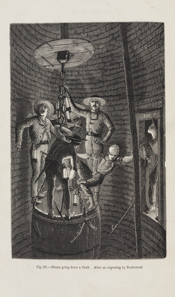 'Miners going down a Shaft', 1869.