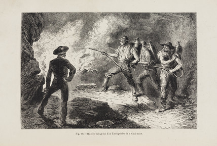 'Mode of using the Fire-Extinguisher in a Coal-mine', 1869.
