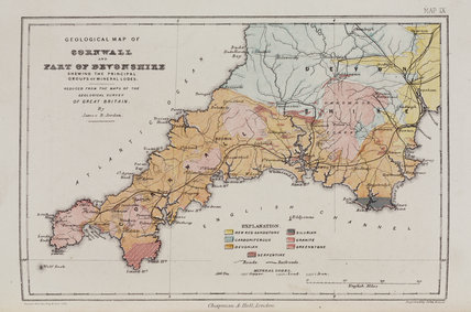 Geological map of Cornwall and part of Devon, 1869.