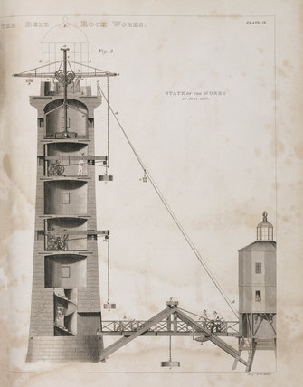 Construction of the Bell Rock Lighthouse, 1810.