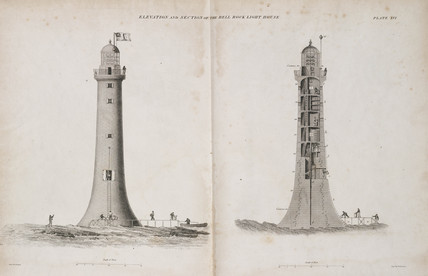 Elevation and section of the completed Bell Rock Lighthouse, c 1810.