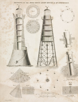Designs for the Bell Rock Lighthouse, c 1800.