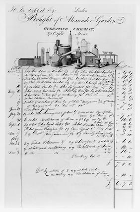 Bill for chemicals from Alexander Garden, chemist, c 1850.