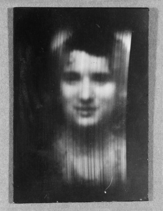 A woman's face as received on 30-line television, c 1930s.