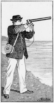 Etienne-Jules Marey with photographic gun, 19th century.
