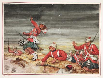 Scottish soldiers at the Battle of Tel-el-Kebir, Egypt, 13 September 1882.
