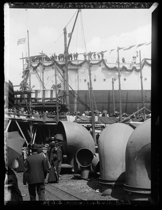 'HMS Albion Just Before Launching', London, 1898.