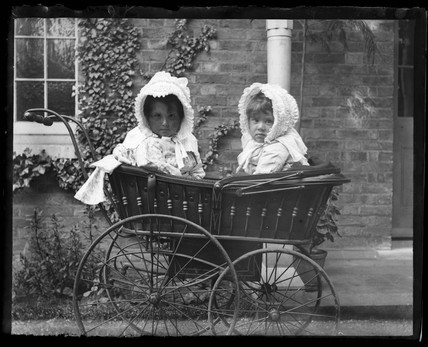 'Isobel And Pauline Adams In Pram', c 1890.