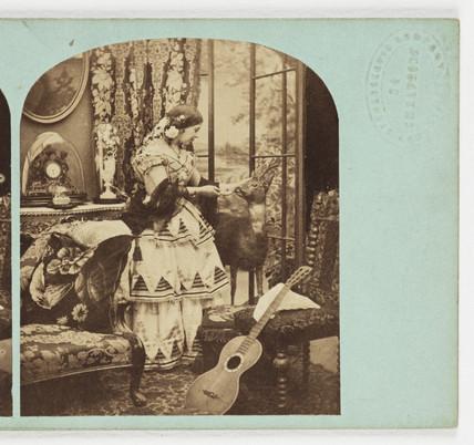 Woman petting deer, c 1860.
