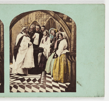 A christening, c 1880.