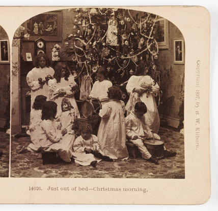Just out of bed - Christmas morning', 1897.