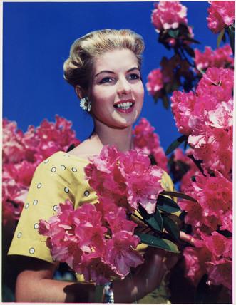 Woman standing near flowering shrubs, c 1940s.