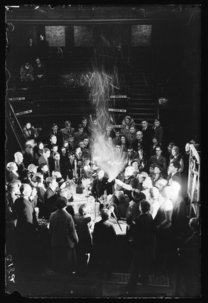 Synthetic snowstorm in a lecture at the Royal Institution, London, 1933.
