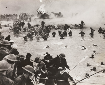 British troops on the beach at Dunkirk, film reconstruction, 30 August 1941.