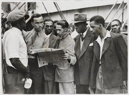 Waiting to disembark from the 'Empire Windrush', 21 June 1948.