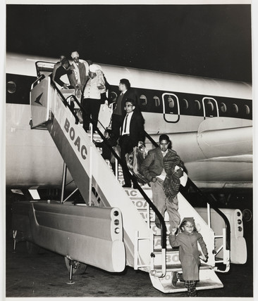Kenyan Asian families arriving at Heathrow, c 1967.