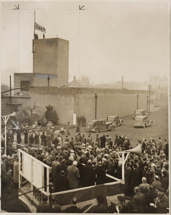 NCB flag raised at Cinder Hill Pit, 1947.
