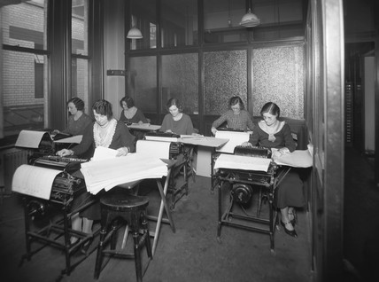 Great Western Railway office workers using calculating machines, 1935.