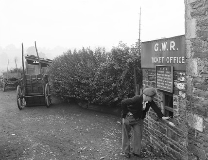 Farrington Gurney Halt's ticket office, Somerset, 1936.