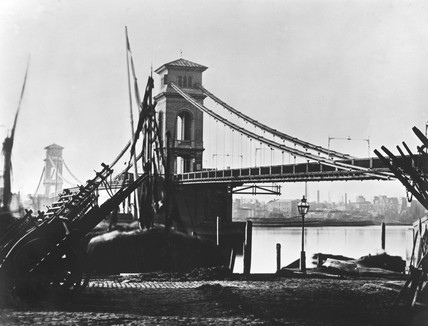 Hungerford Suspension Bridge, London, c 1858.
