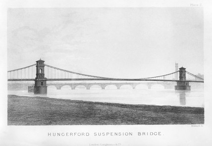 Hungerford Suspension Bridge, London, c 1850.