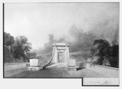 Design for Clifton Suspension Bridge by I K Brunel, c 1830.
