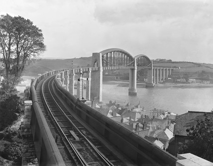 The Royal Albert Bridge, Saltash, Cornwall, c 1925.