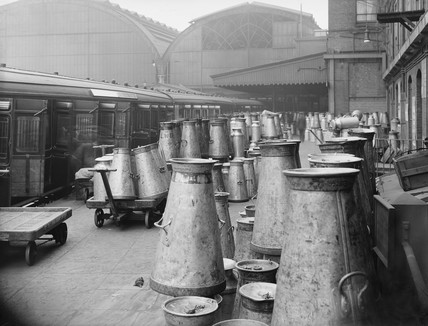 Milk traffic at Paddington station, 1923.