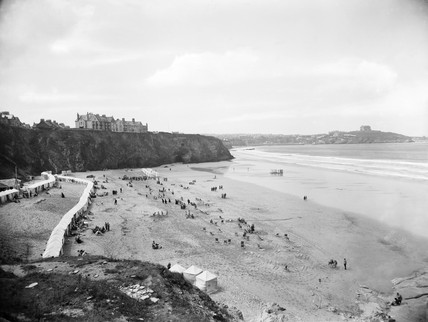 Beach at Newquay, Cornwall, 1923.