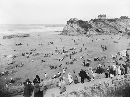 Holidaymakers on the beach at Newquay, Cornwall, 1923.