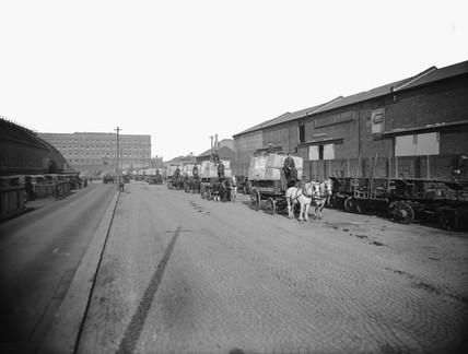 Horse drawn vehicles at Paddington goods depot, 1923.