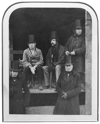 I K Brunel with Robert Stephenson and others, 1857.