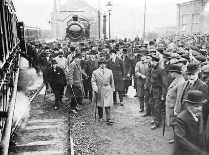 The King of Afghanistan visits the Swindon railway works, Wiltshire, 1928.