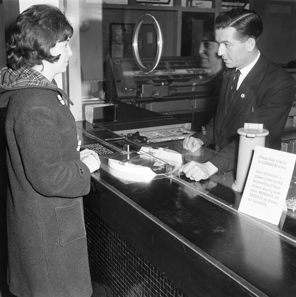 Ticket office at Colchester station, Essex, 24 February 1964.