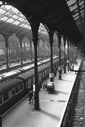 View along a platform at Liverpool Street station, London, 3 September 1956.