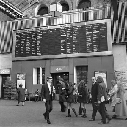 Automatic departure board at Charing Cross station, London, 26 October 1970.