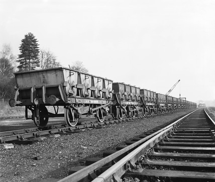 Freight wagons, Stansted goods yard, Essex, 14 January 1954.