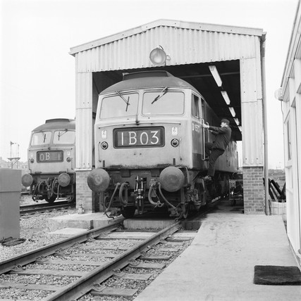 Diesel locomotive servicing, 1969