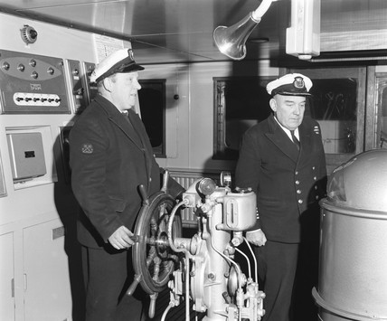 Officers on the 'Cambridge' ferry, 20 February 1968.