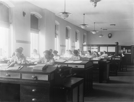 Women workers in the accounts office, Horwich, Lancashire, WWI, May 1917.