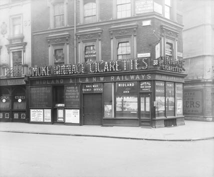 Railway office on Cranbourn Street, London, 1921.