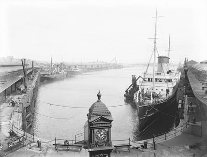 The SS 'Scotia' at Holyhead Harbour, Anglesey, c 1927.