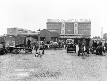 Midland Railway goods yard at Poplar Dock, London, 1898.